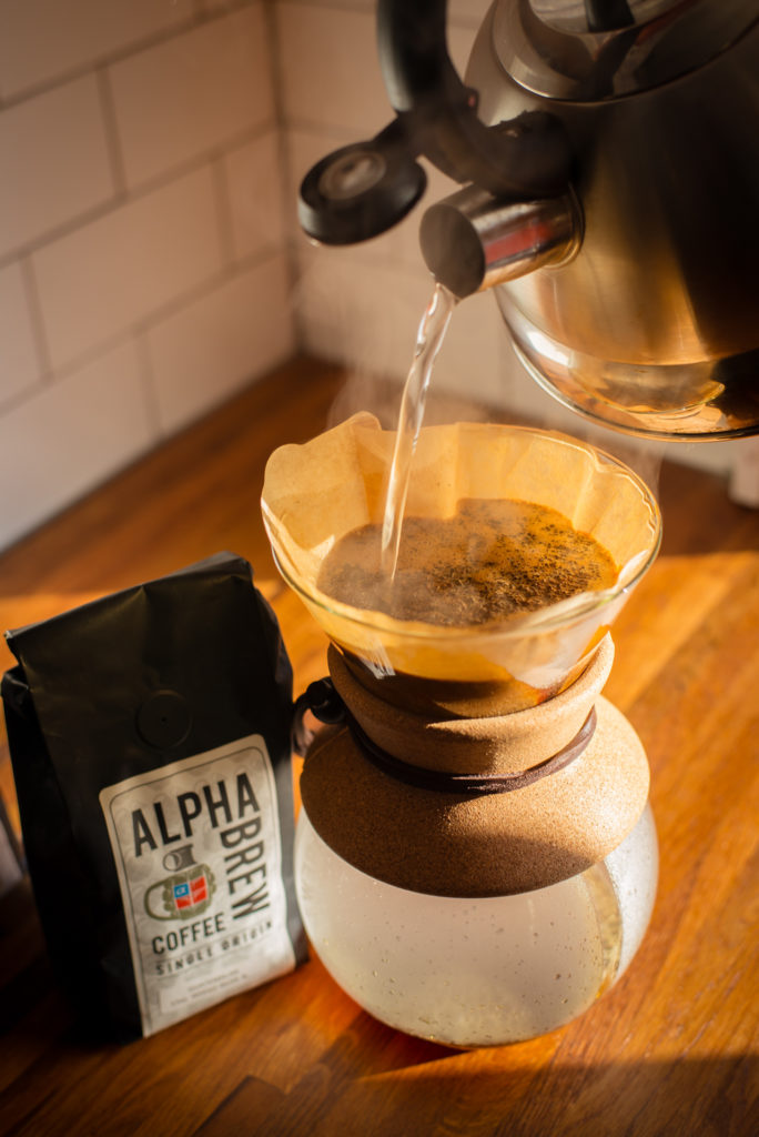 chemex pour over coffee maker with bag of alpha brew coffee, photographed by jamie bannon photography.