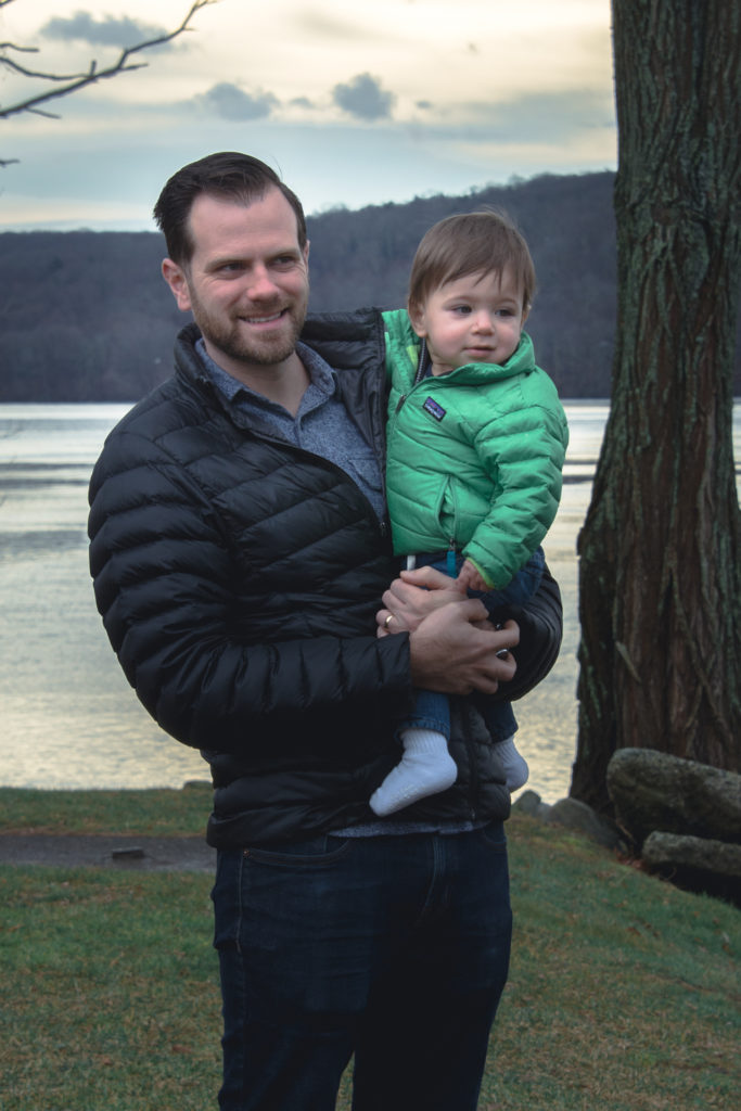 portrait of a dad with his young son at the goodspeed opera house in east haddam, connecticut, photographed by jamie bannon photography.