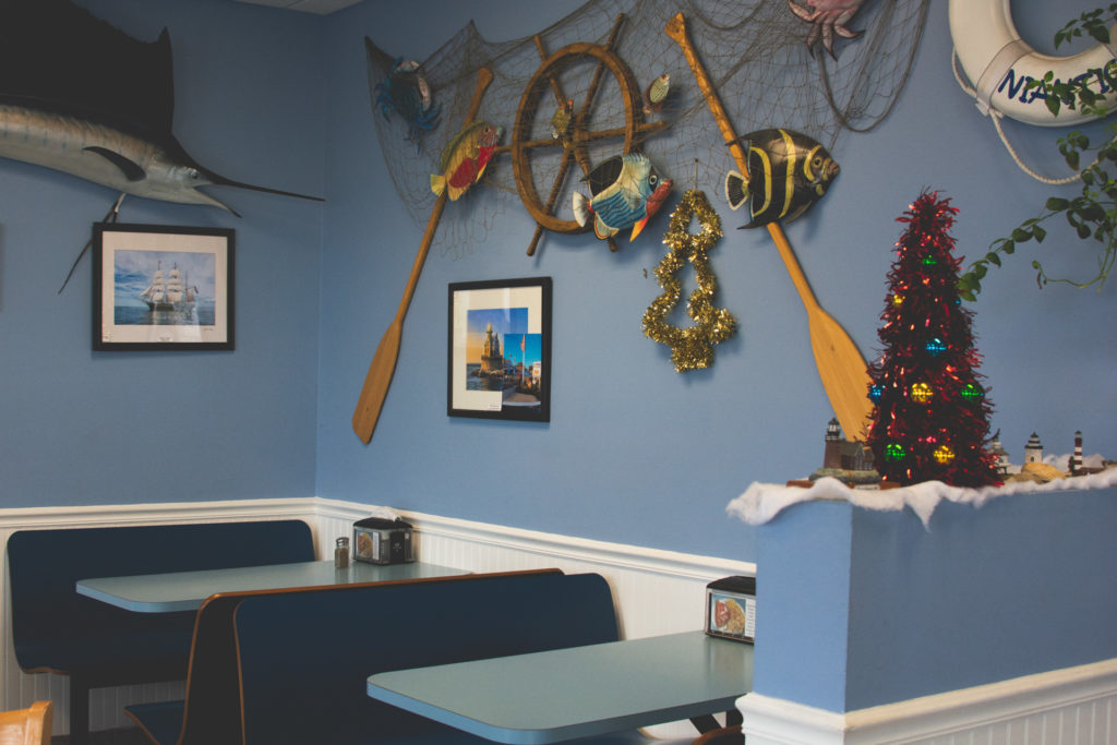 interior of a seafood restaurant in connecticut, photographed by jamie bannon photography.