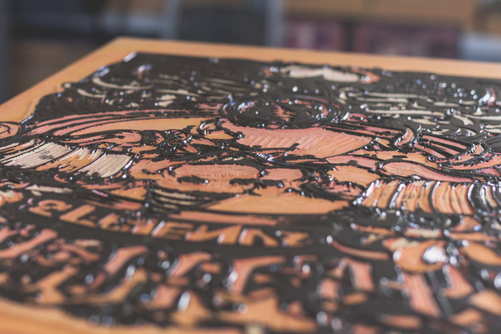 detail of a relief print at masthay studios in west hartford, connecticut, photographed by jamie bannon photography.