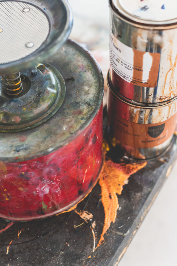 detail of printmaking materials at a studio in west hartford, connecticut, photographed by jamie bannon photography.