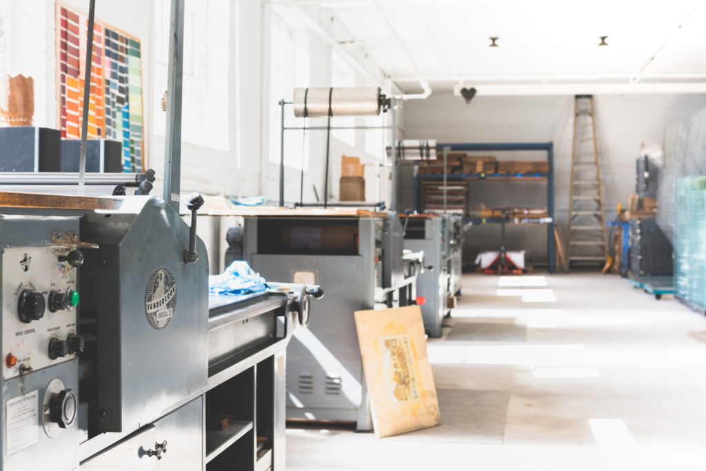 interior of masthay studios, a printmaking studio in west hartford, connecticut, photographed by jamie bannon photography.