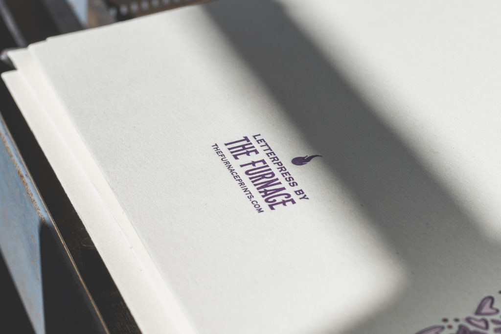detail of the logo for the furnace, a letterpress studio in west hartford, connecticut, photographed by jamie bannon photography.