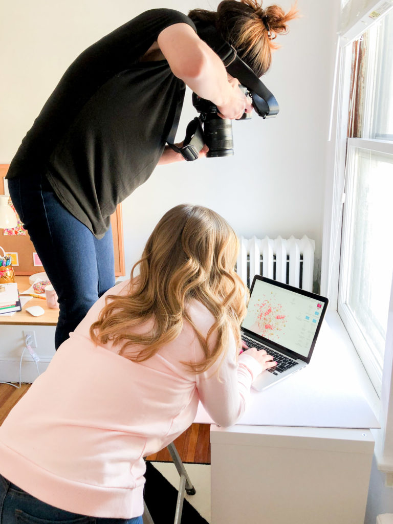behind the scenes shot from jamie bannon photography's branding shoot for the productivity zone.