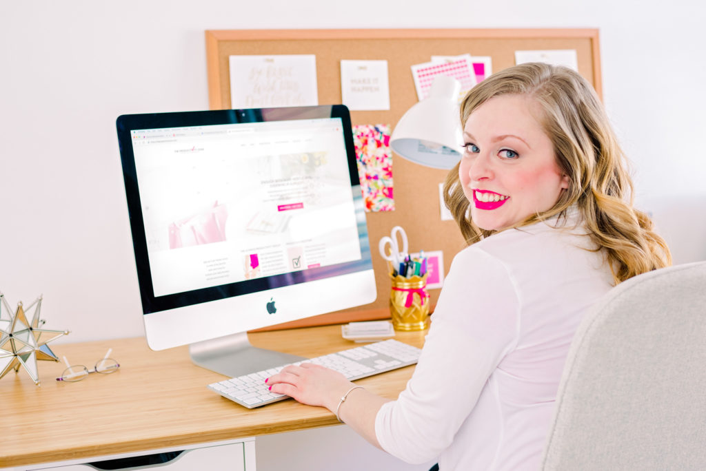 female entrepreneur seated at her desk, as part of a business branding shoot for the productivity zone, photographed by jamie bannon photography.