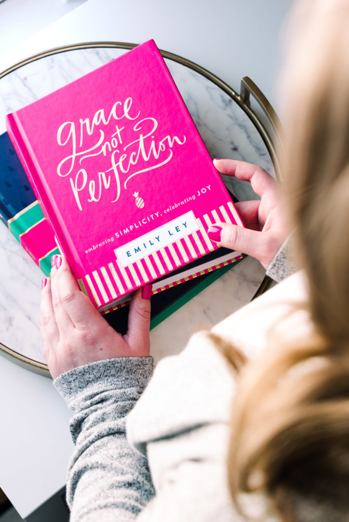 "detail of the book ""grace not perfection"" by emily ley, as part of a business branding shoot for the productivity zone, photographed by jamie bannon photography."