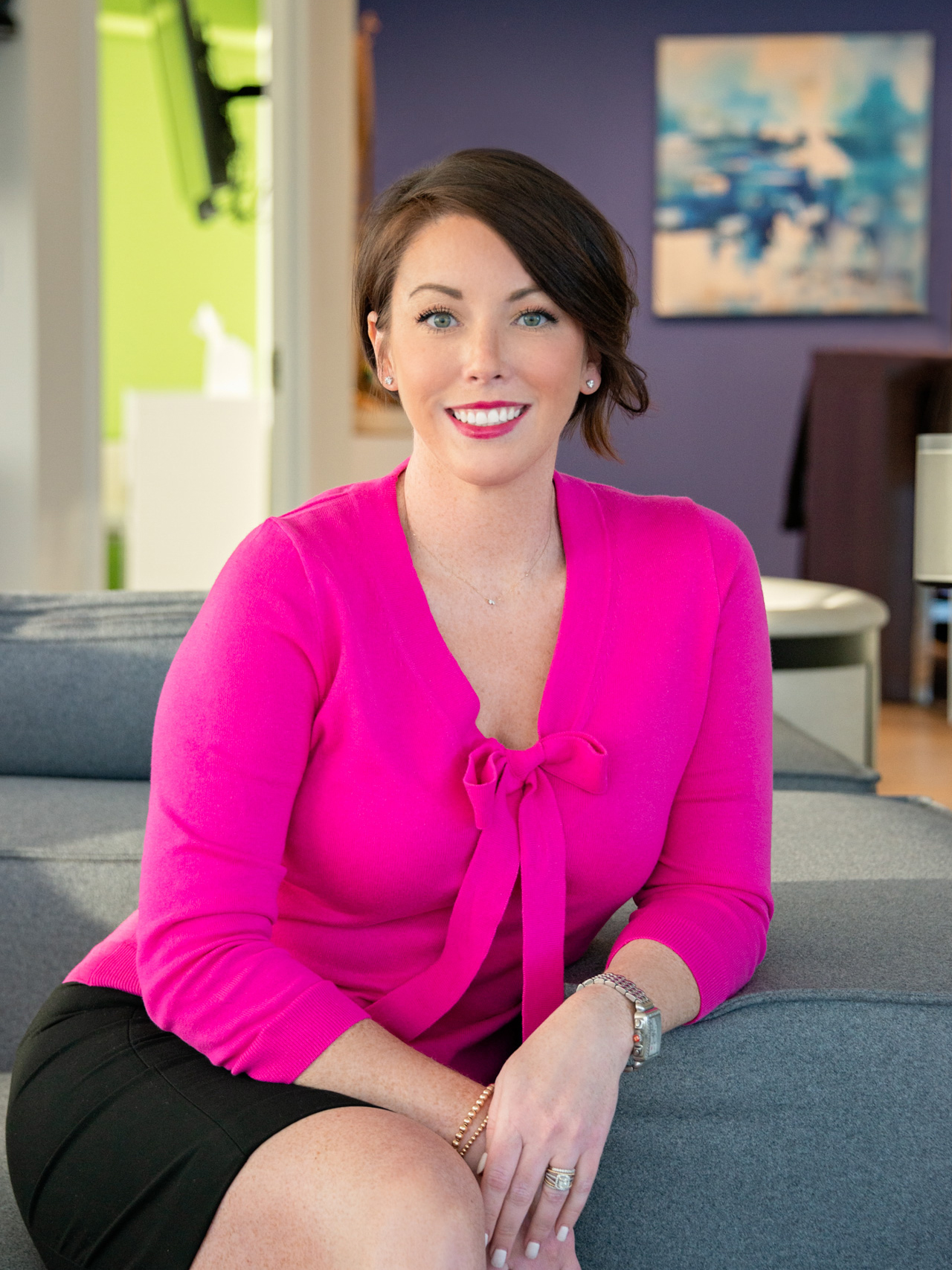 creative lifestyle professional headshot of a realtor, photographed by jamie bannon photography.