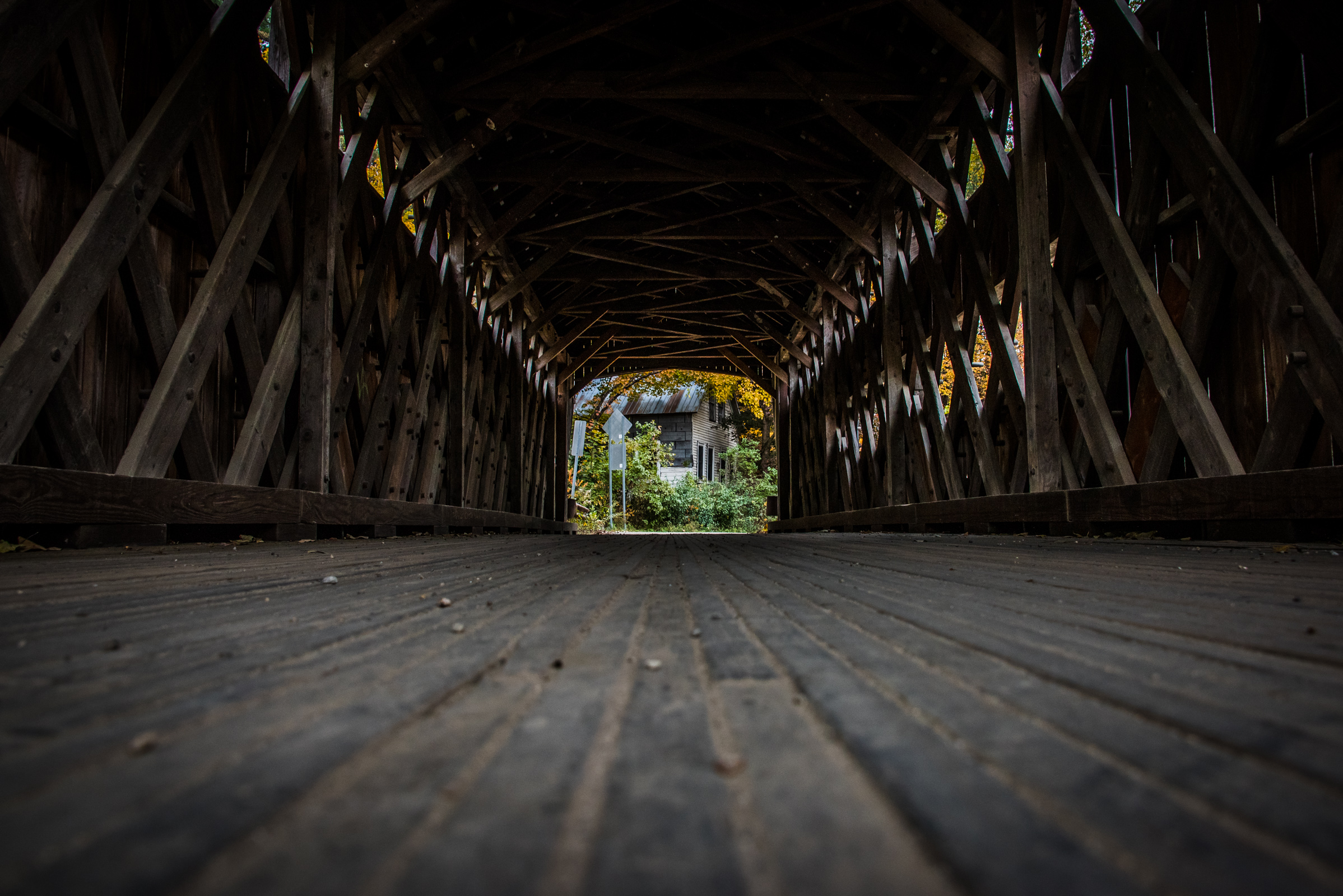 interior of a covered bridge in vermont, photographed by jamie bannon photography.