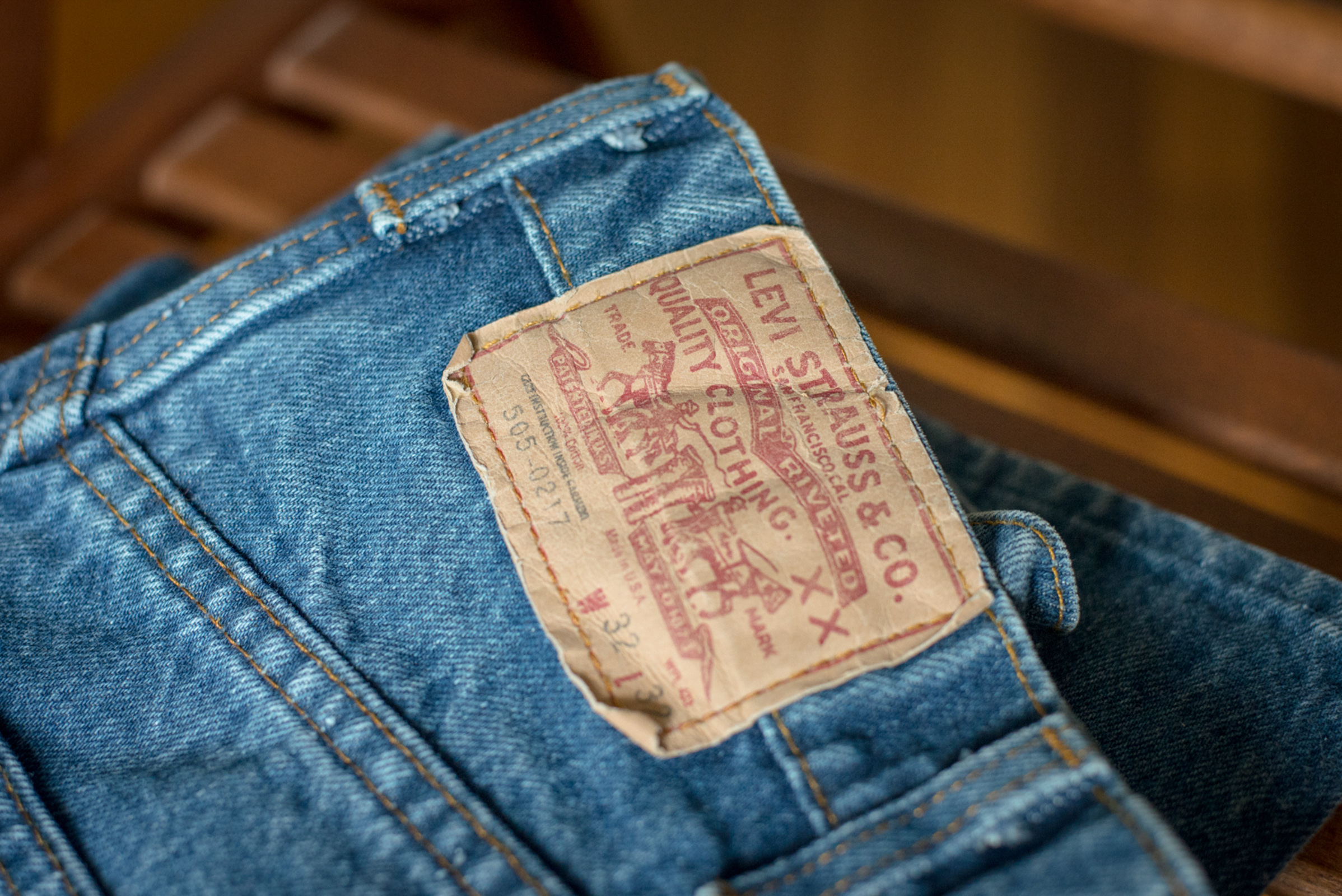 detail of a levi jeans tag at the comma, vintage menswear subscription box headquarters