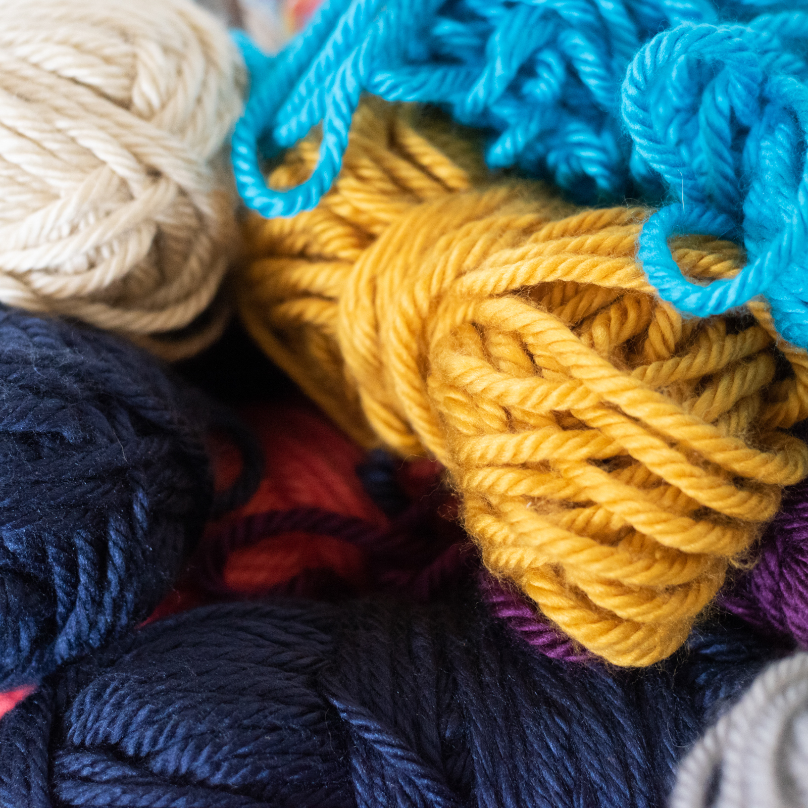 pile of yarn, photographed as part of a brand shoot by jamie bannon photography.