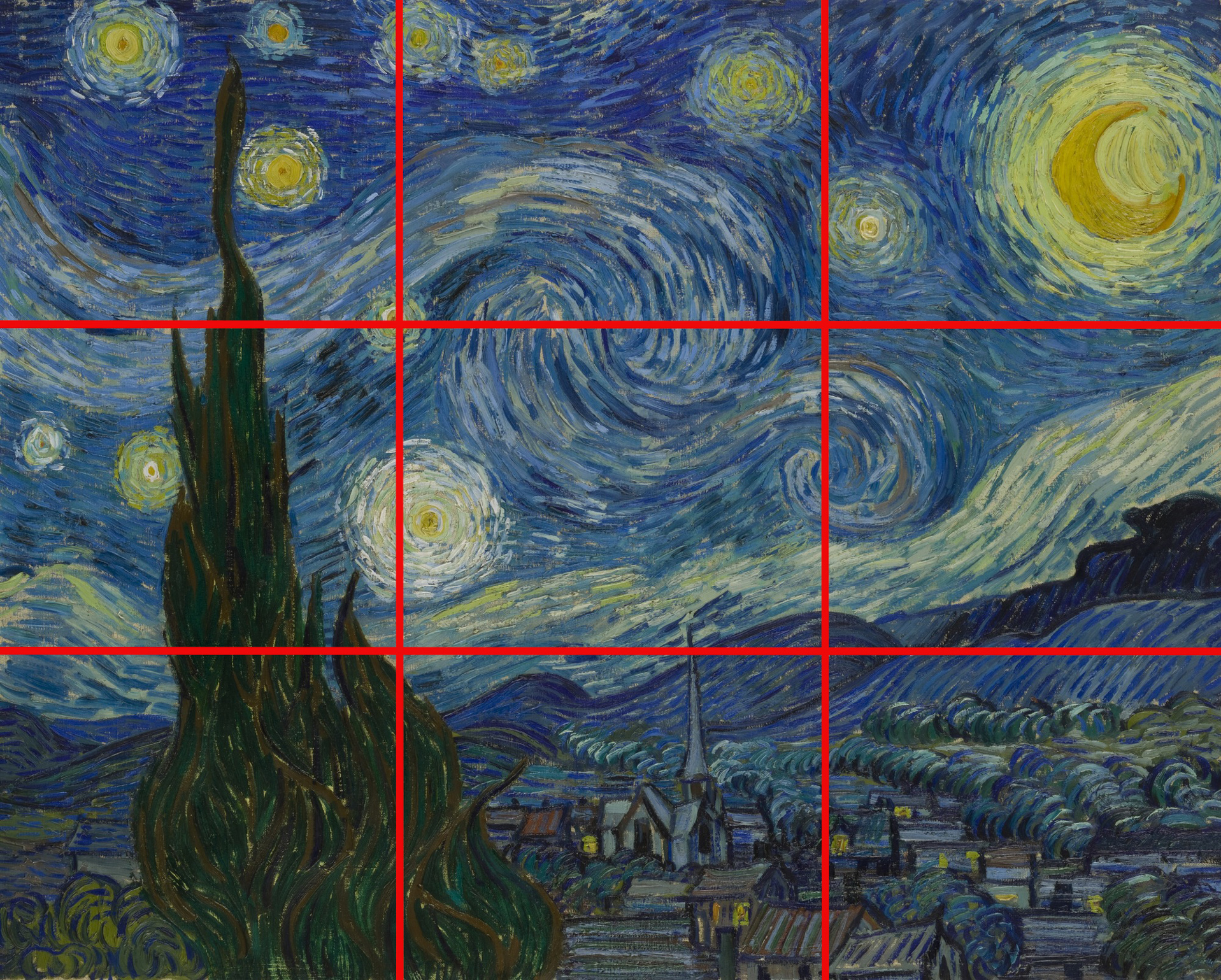 starry night by vincent van gogh, illustrating the rule of thirds.