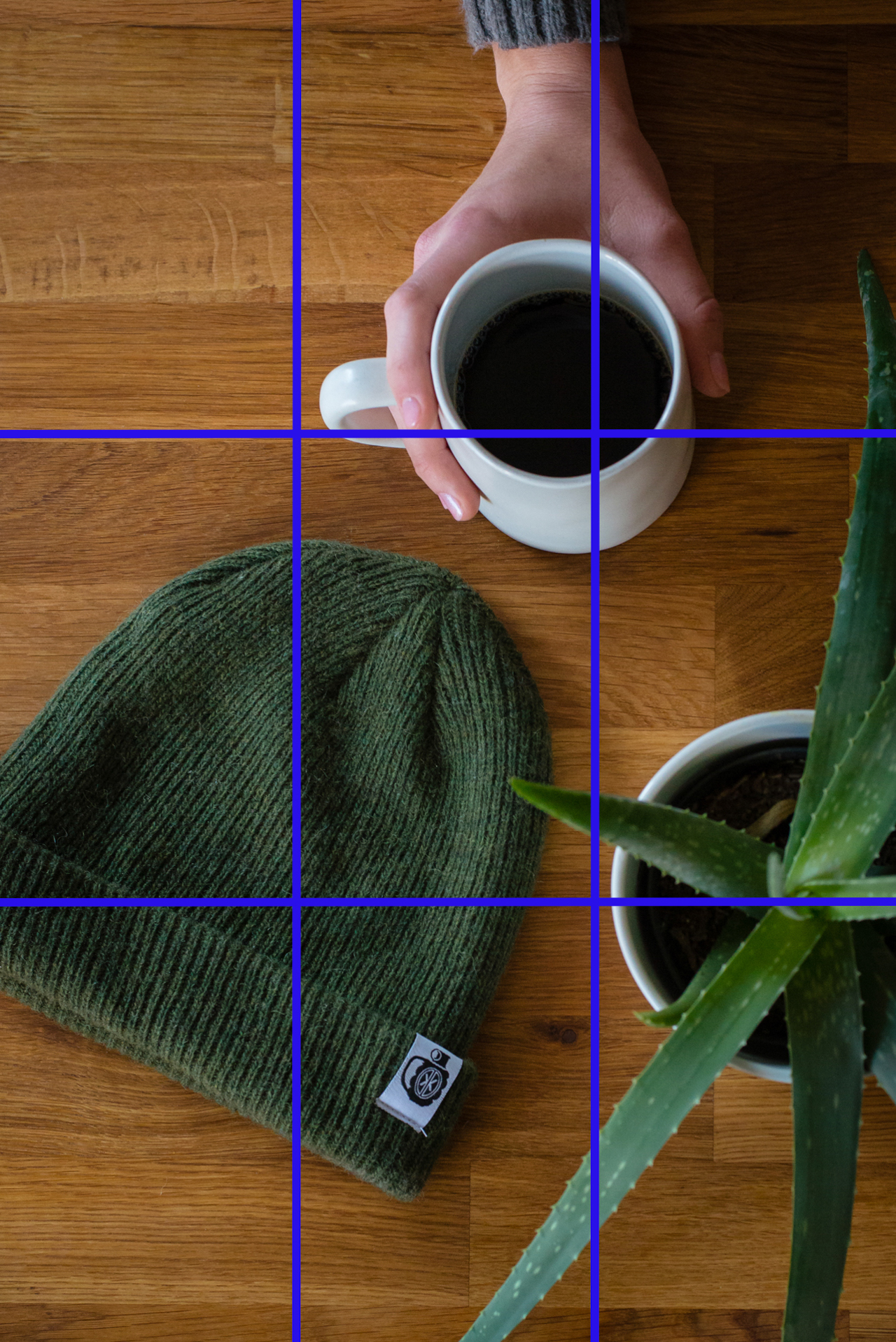 flat lay with a coffee cup, illustrating the rule of thirds, photographed by jamie bannon photography.