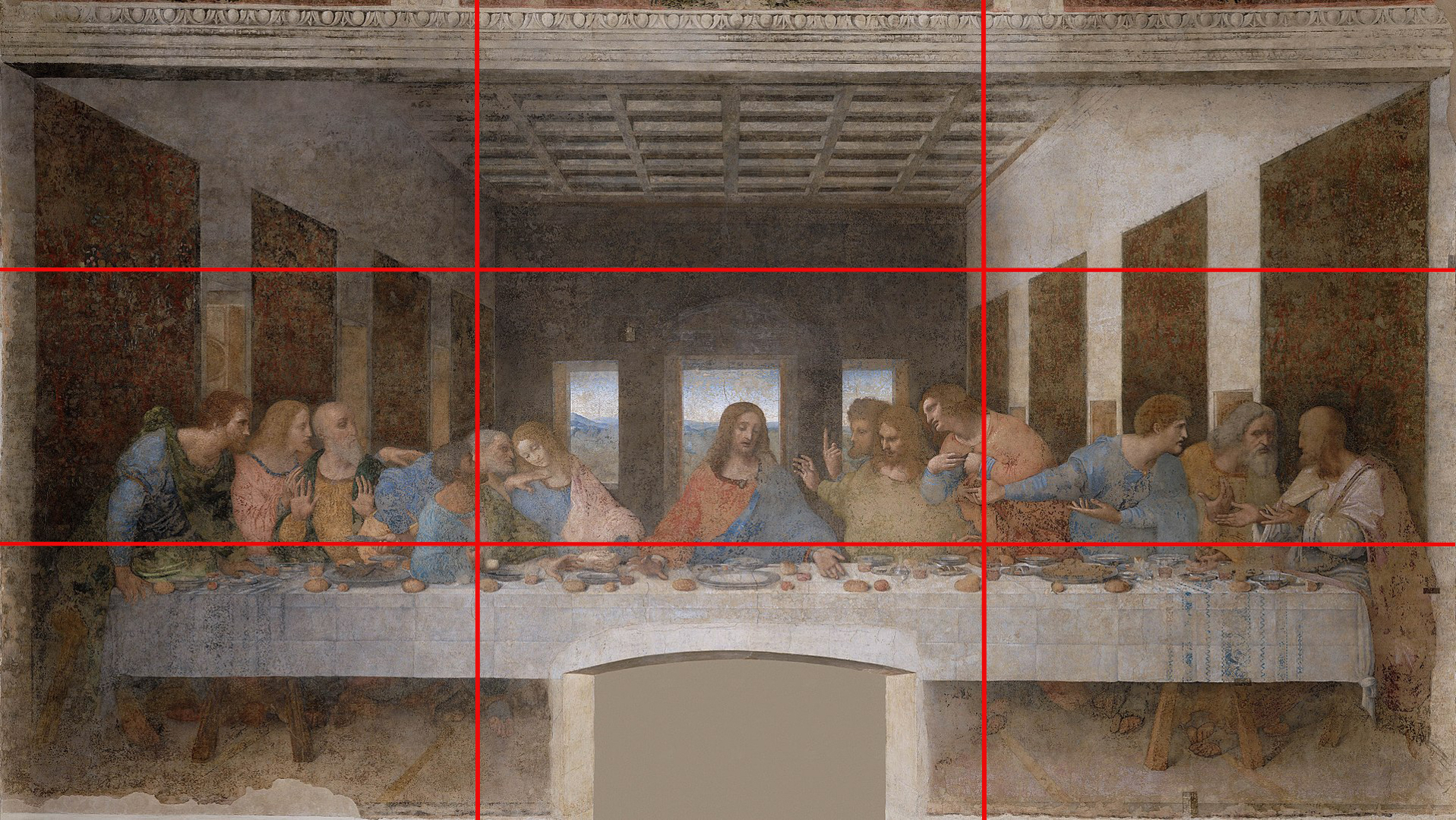 leonardo da vinci's last supper, illustrating the rule of thirds.
