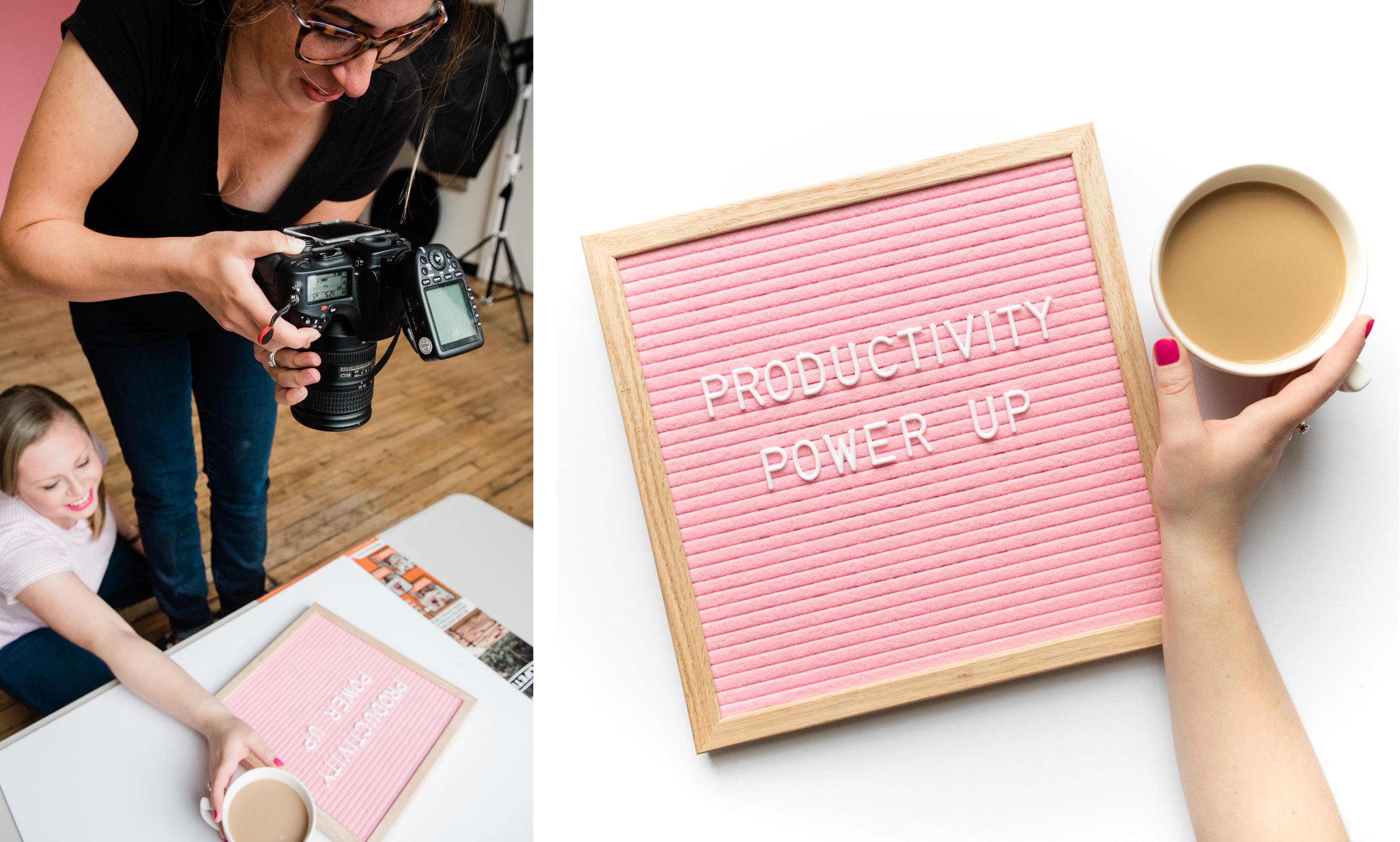 behind the scenes of jamie bannon photography brand shoot with the productivity zone, photographed by christina wesley photography.