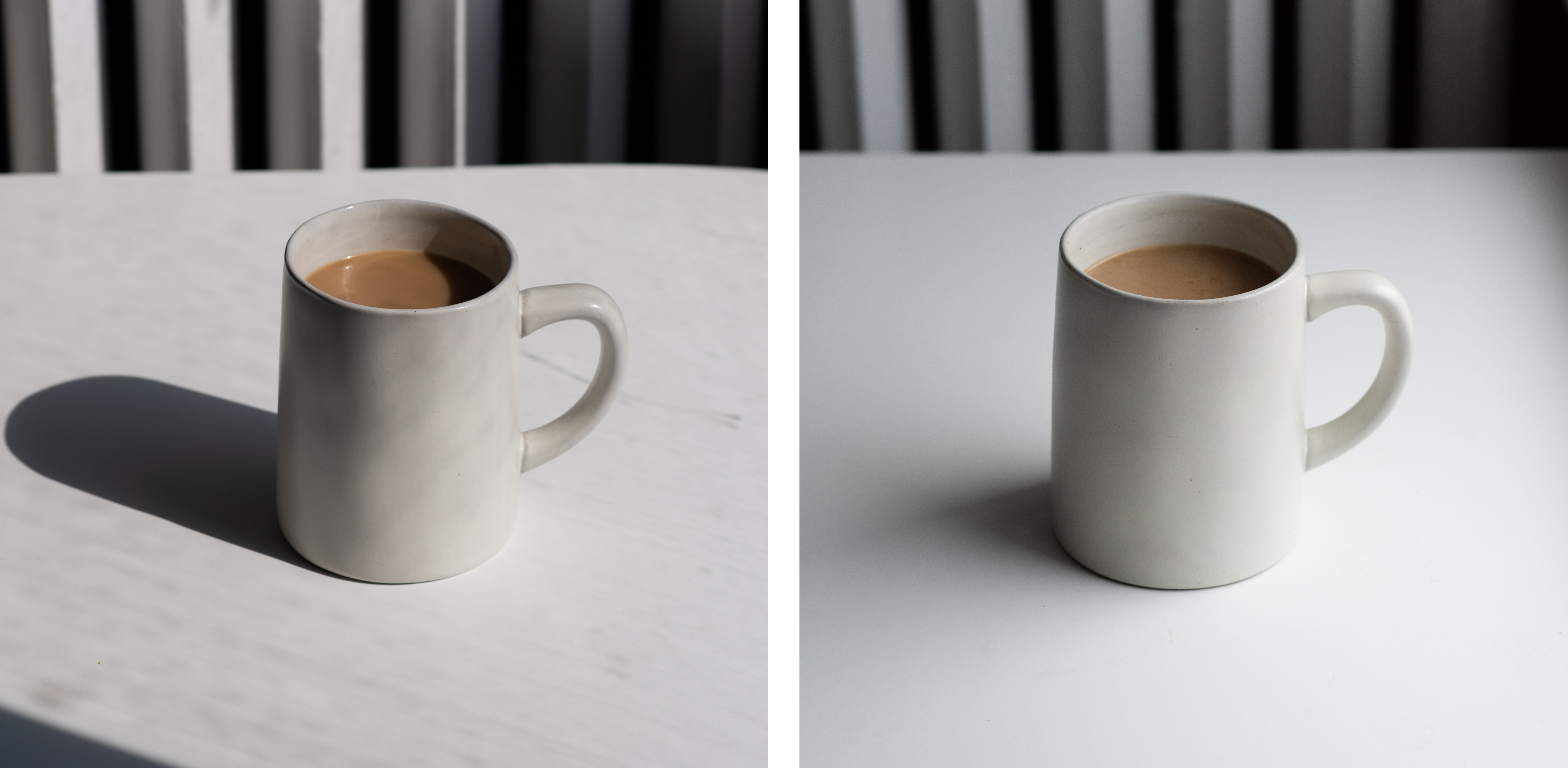 demonstration of different kinds of natural light on a mug, photographed by jamie bannon photography.
