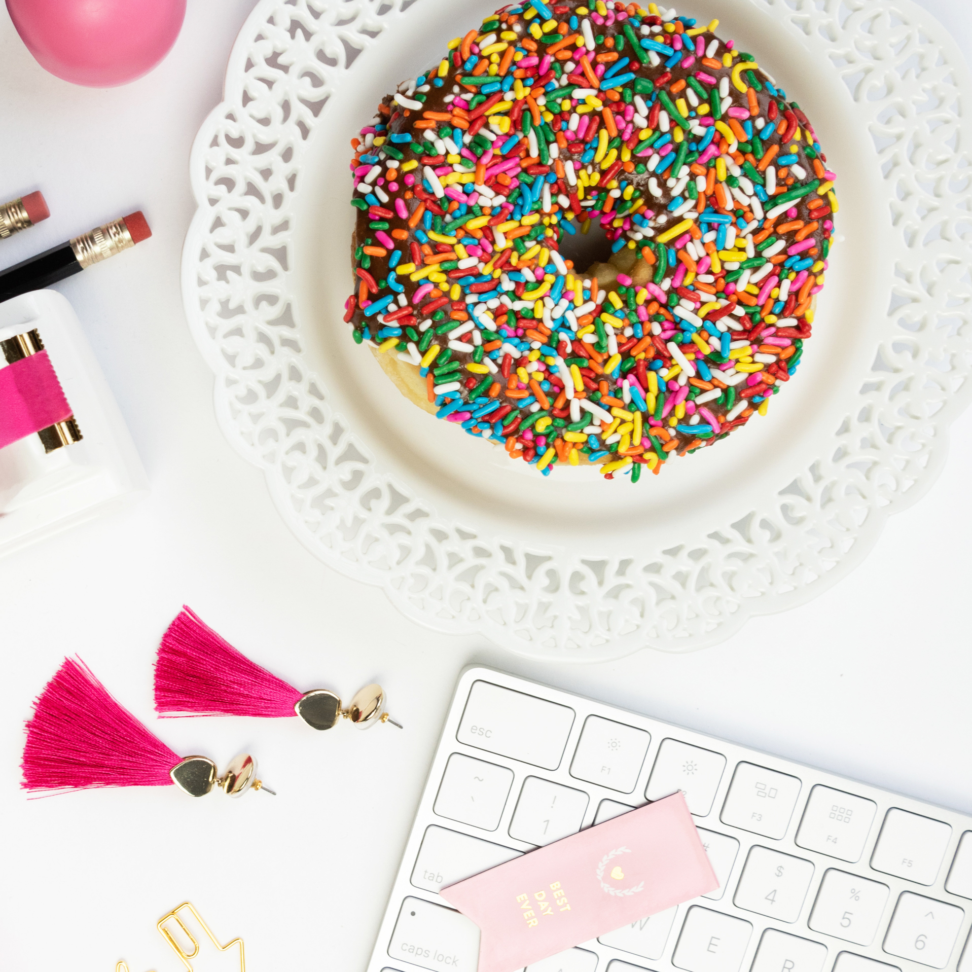 flat lay with colorful office supplies, photographed by jamie bannon photography.