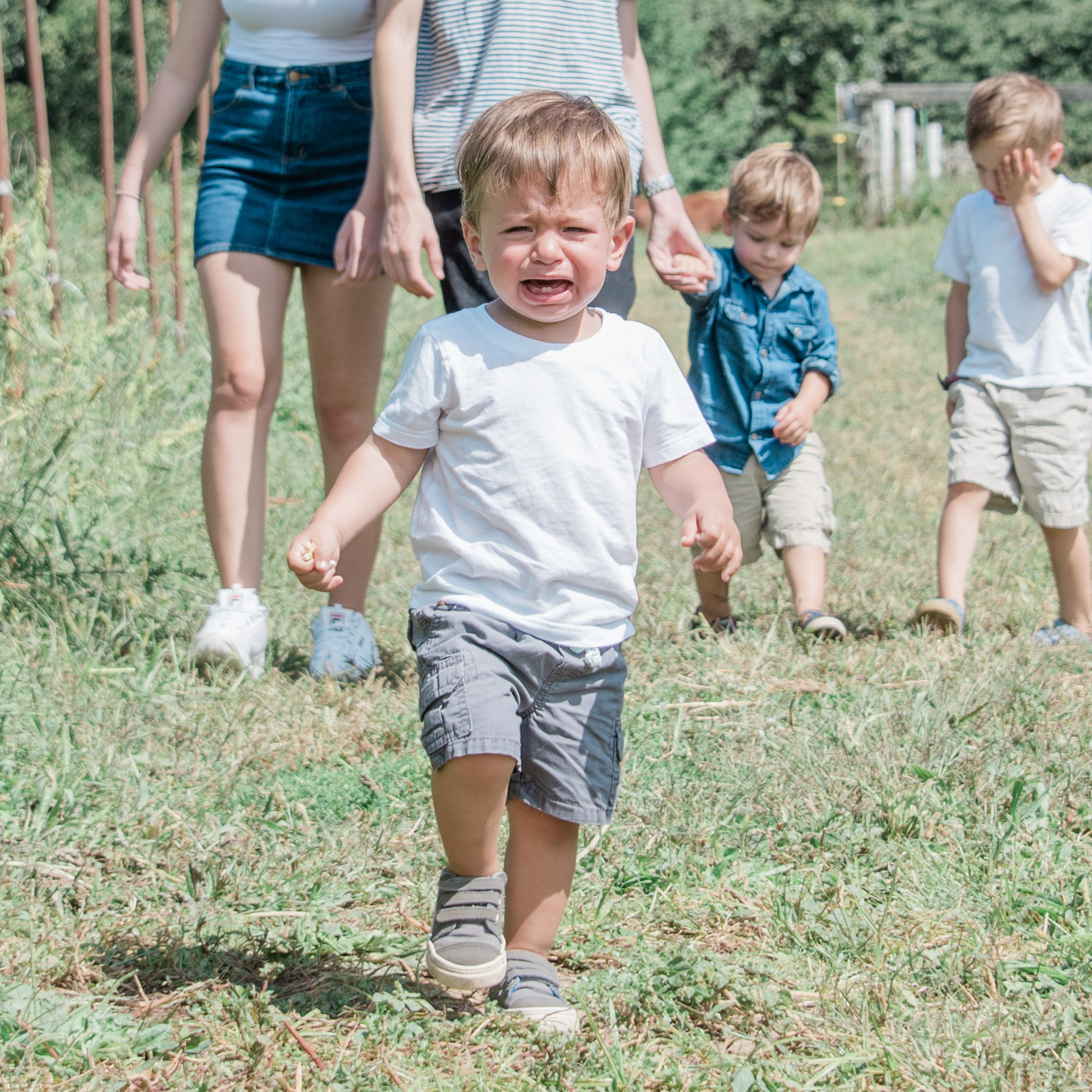 angry toddler during a family photo by jamie bannon photography.