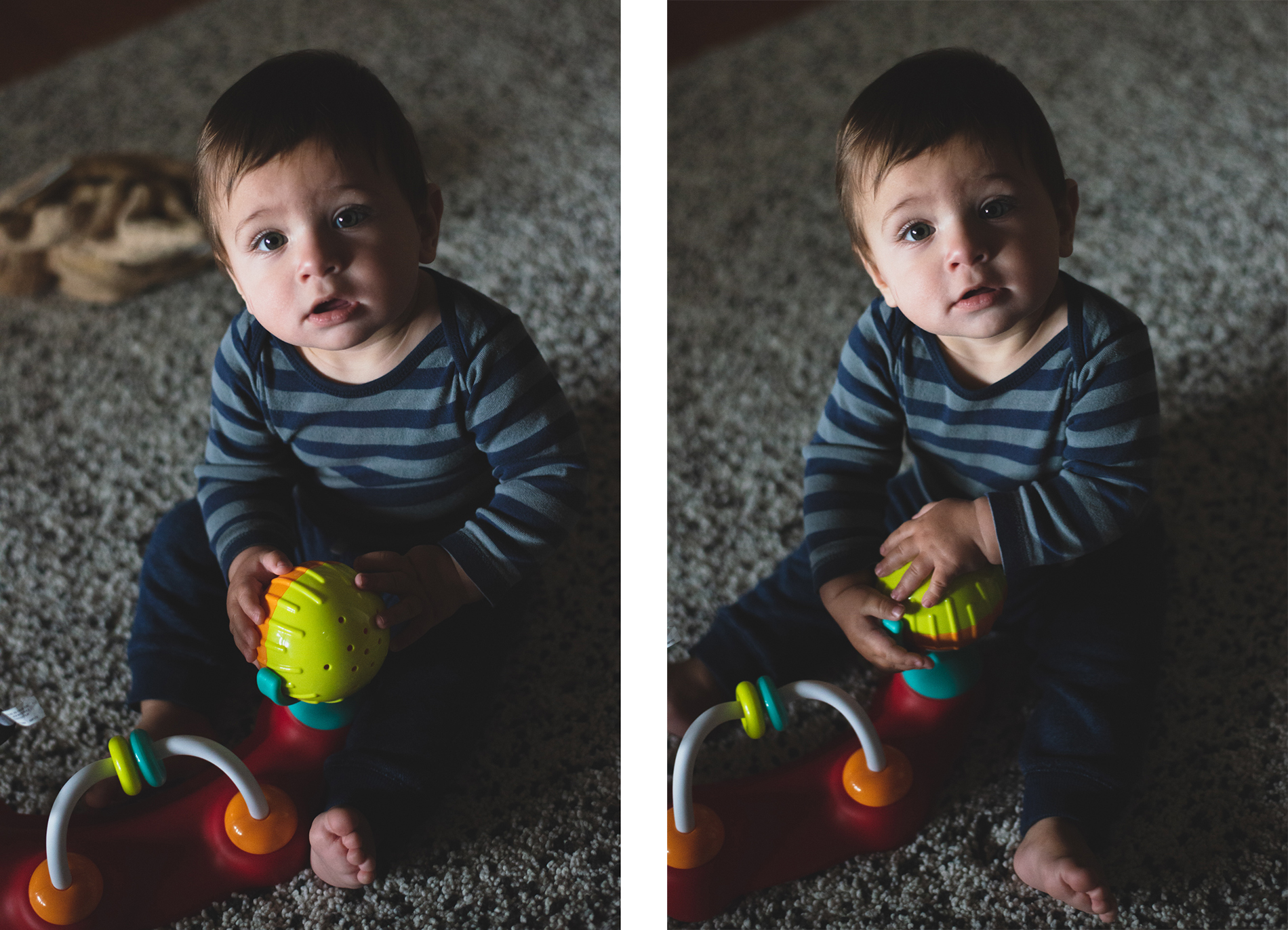 a baby playing on the floor showing the difference between cleaning up the background of an image, photographed by jamie bannon photography.