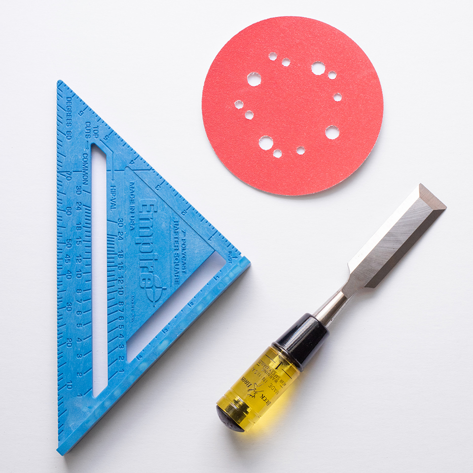 flat lay with tools using a primary color palette, photographed by jamie bannon photography.