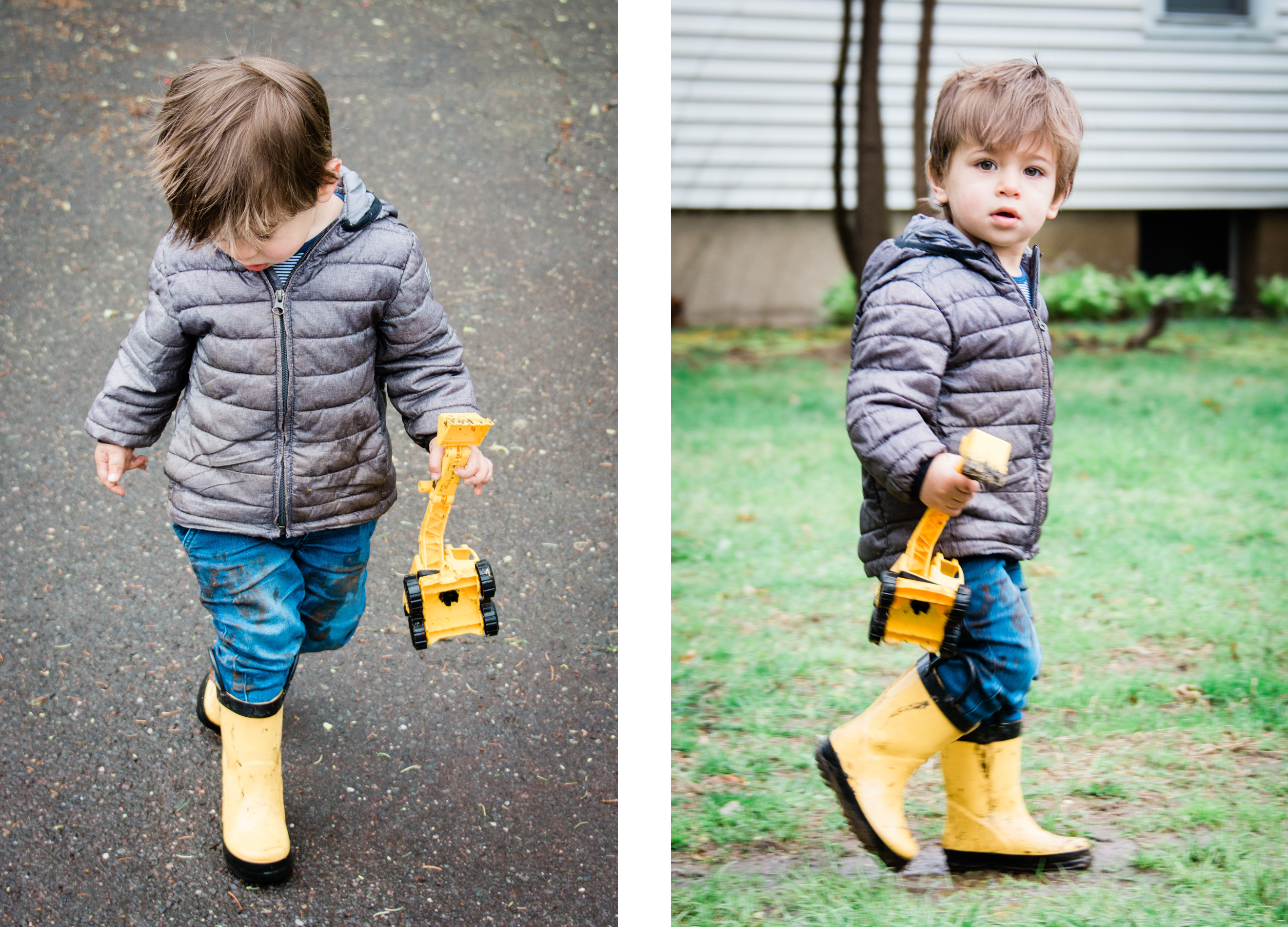 portrait of a young boy in yellow rain boots, photographed by jamie bannon photography.