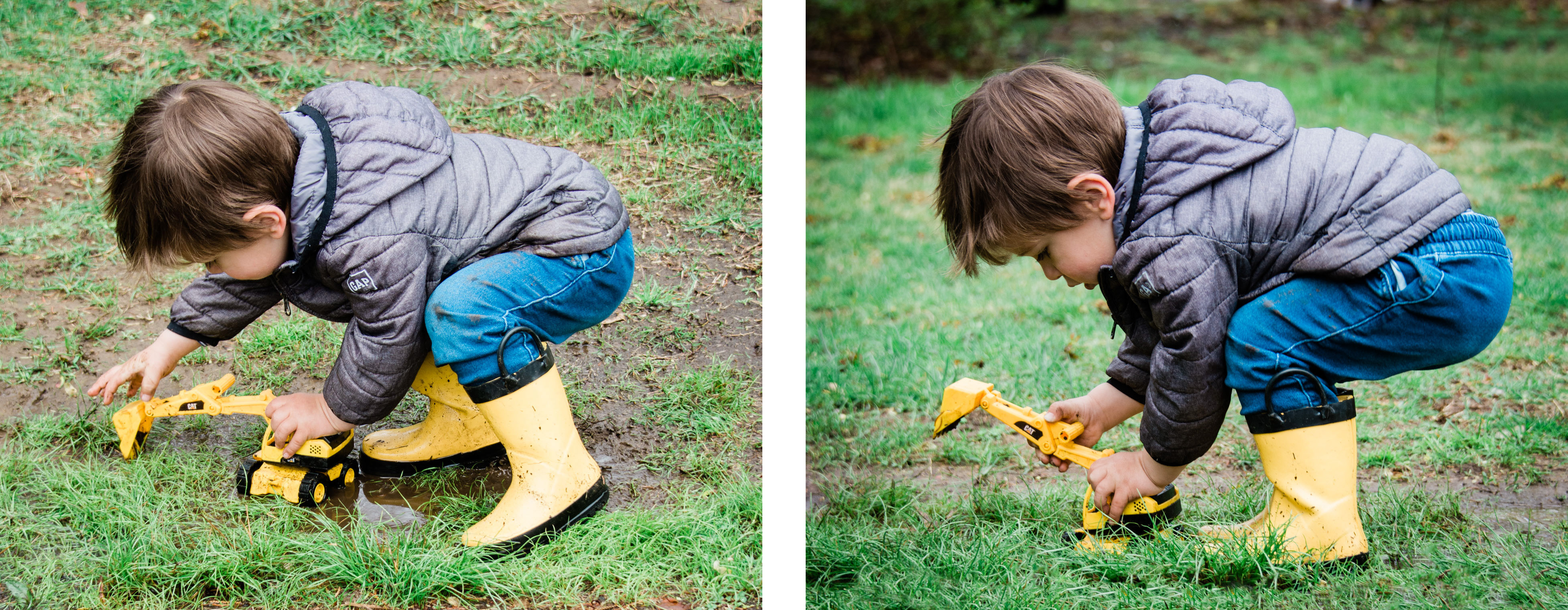 a young boy plays with his toy truck in yellow rain boots, photographed by jamie bannon photography.