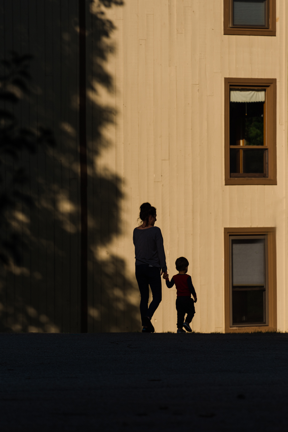 a grandma holder her grandson's hand, walking at golden hour, photographed by jamie bannon photography.